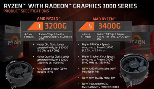 AMD Ryzen3200G,3400Gの性能ベンチマーク