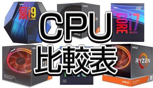 CPU比較表,性能ベンチマーク2021年4月最新版