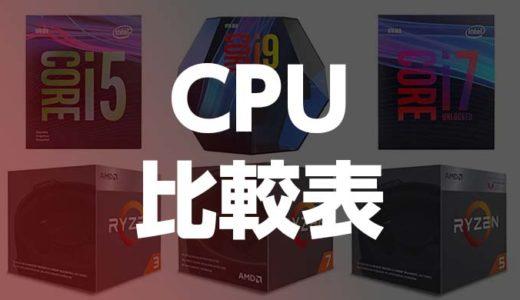 CPU比較表,性能ベンチマーク2020年最新版